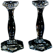 """Pair of Antique Heisey Crystal Clear Glass 7 1/2"""" Candlesticks"""