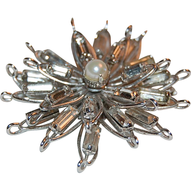 Sterling & Rhinestone Starburst Pin