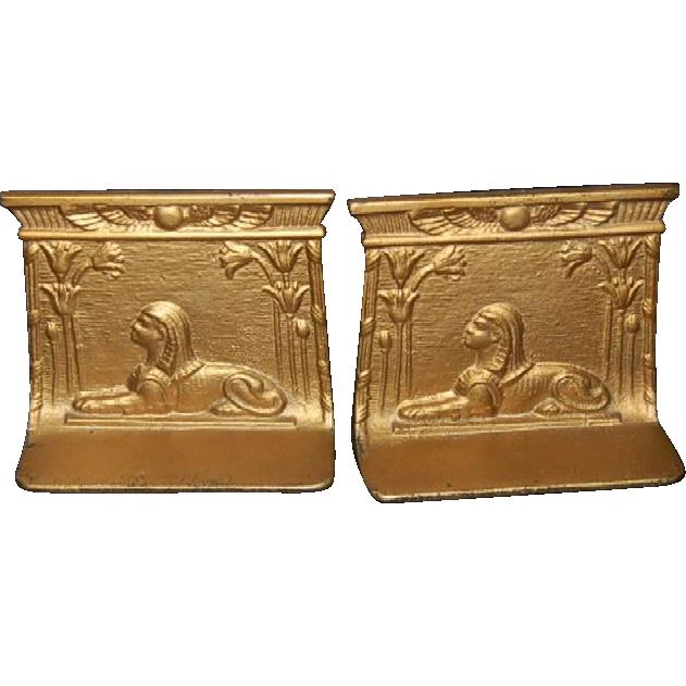 Egyptian Motif Cast Iron Bookends