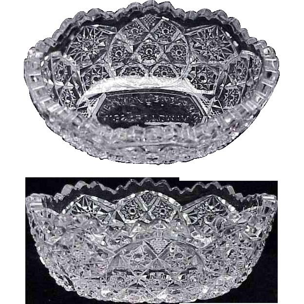1900's Pattern Pressed Glass Bowl w/ Jewelry Store Advertising / Tacoma Washington