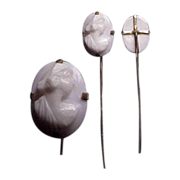 1890's Carved Angel Skin Coral Cameo Stickpin