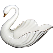 Cream Lenox Nut / Candy Swan Dish w/ Gold Trim & Green Mark