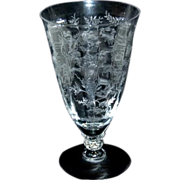 "Fostoria Chintz Etched Crystal Glass 6"" / 13 oz Iced Tea Stem"