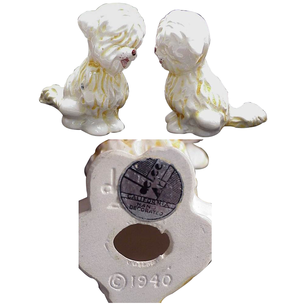 Sheepdog / Briard Dog Figurine Dated 1940