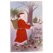 1908 Santa Claus Postcard delivering Christmas Tree & Basket of Toys
