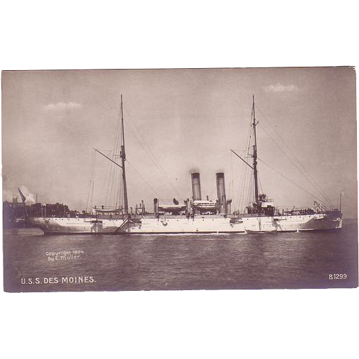 """RPPC Postcard with Photographic Image of """"USS Des Moines"""""""