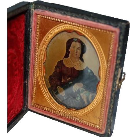 Antique Paper Cased Ambro Type Photograph
