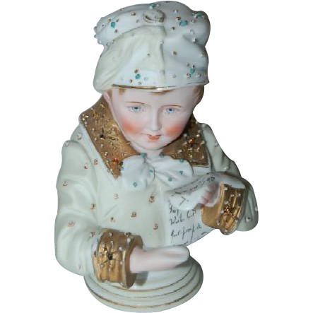 Antique Porcelain Bust of Young Scholar Boy reading Scroll