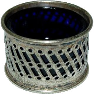 1920's English Plated Silver Salt Cellar w/ Cobalt Liner