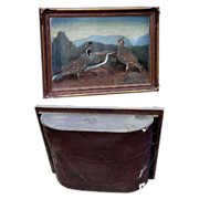 Antique Diorama Mountain Scene with 2 Mountain Quail