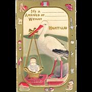 Stork Birth Announcement Postcard