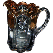 "EAPG 8"" Tall Heavy Clear with Gold Decoration Water Pitcher"