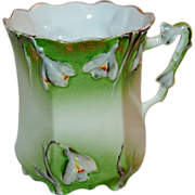 1890's Pastel Green & White Floral Snow Drops Germany Porcelain Mug