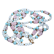 """65"""" Long Strand in Colors of Pale Pastel Blue, Pink & White Beads"""