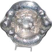 Embossed Decorated w/ Fruit & Fancy Scrolling Rococo Design Sterling Bowl