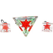 Lucite / Triangular Pin & a Pair of Square Shaped Earrings w/ Poinsettia Flowers