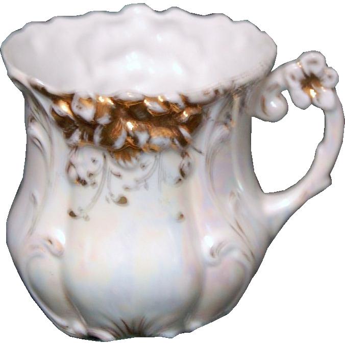 1890's Fancy Decorated Porcelain Shaving Mug w/ Pearlized Finish
