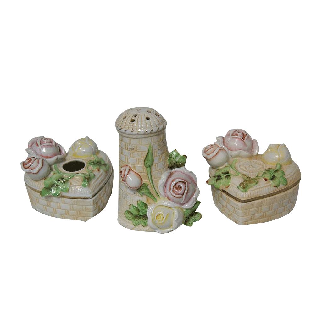 Schafer & Vader Germany 3 Pc Porcelain Dresser Set w/Blown Out Roses