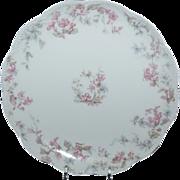 "7 1/2"" Haviland Dessert / Salad Plate w/ Pink Trumpet Flowers & Blue Clematis Flowers"
