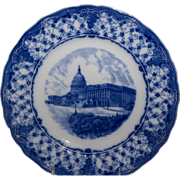 US Capitol Blue & White English Souvenir Plate