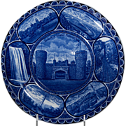 """Rolled Edge Blue & White Souvenir Plate """"Lookout Mountain Tennessee"""" RE"""