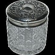 English Silver Sterling Top w/ Cut Glass Dresser Jar
