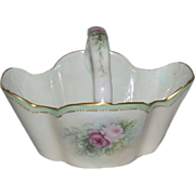 """1890's Bavarian Porcelain Hand Painted Basket with """"Roses"""""""