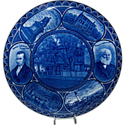 "Blue & White R & M Souvenir Plate ""Henry Wadsworth Longfellow"""