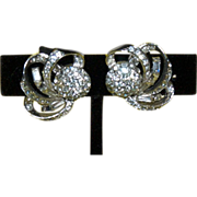 "Elegant Cosmic Shooting Stars Rhinestone Earrings signed "" Boucher"""