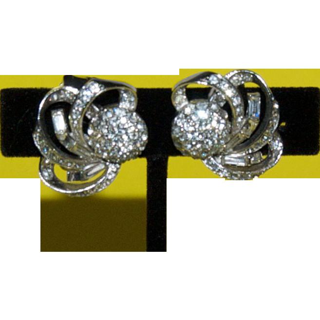 """Elegant Cosmic Shooting Stars Rhinestone Earrings signed """" Boucher"""""""