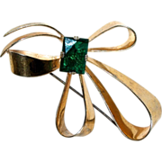 Sterling Silver Bow Brooch w/ Green Glass Stone