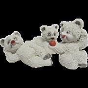 1950' - 1960's (3) Three Adorably Cute Pebbly Japanese Snow Polar Bears
