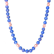 Blue Lapis Beaded Necklace with 14k Yellow Gold Clasp