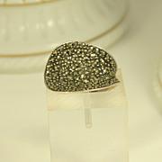 Vintage Sterling Silver & Marcasites Ring in Modern Design