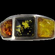Vintage Modern Design Sterling Silver Amber Ring Poland