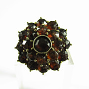 Victorian Ring  Faceted Bohemian Garnet Stones 10k Yellow Gold
