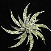 Vintage Pell Designer Baguette & Round Rhinestone FLower Pin Brooch