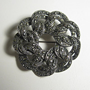 Vintage Sterling Silver & Marcasites Round Pin Brooch
