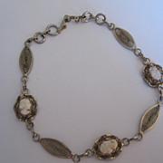 Vintage 12 Gold Filled Cameo Filigree Bracelet by Dixelle