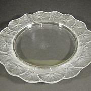 "Signed Lalique Crystal France Honfleur Plate 8"" Geranium"