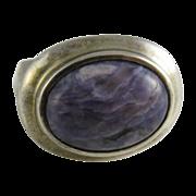Vintage Sterling Silver & Purple Jasper Dome Ring by Joseph Esposito