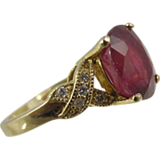 Stunning 3 ct Natural Tourmaline & 14k Yellow Gold Ring