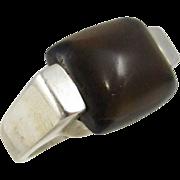 Vintage Modern Design Sterling Silver Ring Amber Color Stone