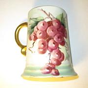 Antique Porcelain Rosenthal Tankard Mug Hand Painted Grapes 1911