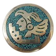 Sterling Silver Round Pin Pendant w/ Aztec Face Taxco Mexico