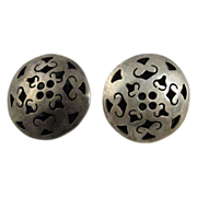 Mexican Taxco Sterling Silver Clip On Round Earrings