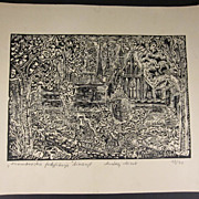 Polish Woodcut / Linocut Frombork Fortifications Poland