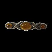 Vintage Sterling Silver & Natural Amber Brooch Pin