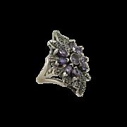 Beautiful Sterling Silver & Purple Stones Flower Ring