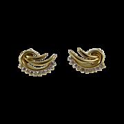 Beautiful Vintage 14k Yellow Gold Diamond Earrings